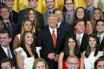Donald J. Trump Trump Poses With Outgoing Interns