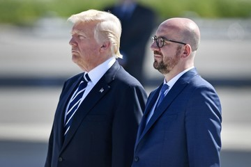Donald Trump Charles Michel Trump Is Seen in Brussels for His First Talks With NATO and European Union Leaders