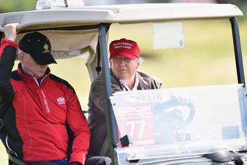 Donald Trump US Presidential Candidate Donald Trump Visits His Scottish Golf Course