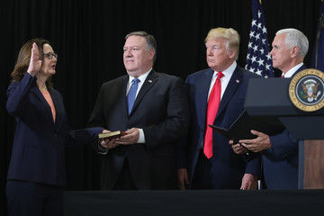 Donald Trump President Trump Takes Part In Swearing In Of CIA Director Gina Haspel