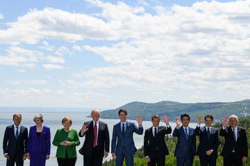 Donald Trump Theresa May Heads Of State Attend G7 Meeting In Quebec - Day One