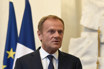 Donald Tusk French President Emmanuel Macron Holds Dinner Meeting With European Council President Donald Tusk
