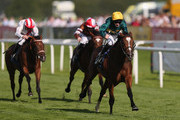 California ridden by Robert Havlin on their way to victory in the crownhotel-bawtry.com Thoroughbred Breeders Association Fillies Handicap Stekes at Doncaster Racecourse on September 10, 2015 in Doncaster, England.