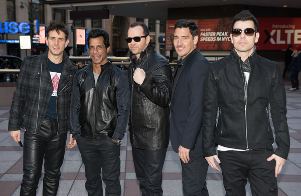 New Kids on the Block Press Conference [leather jacket,leather,jacket,event,eyewear,cool,textile,performance,joey mcintyre,jordan knight,jonathan knight,danny wood,donnie wahlberg,new kids on the block press conference,new kids on the block,photo,madison square garden,press conference]