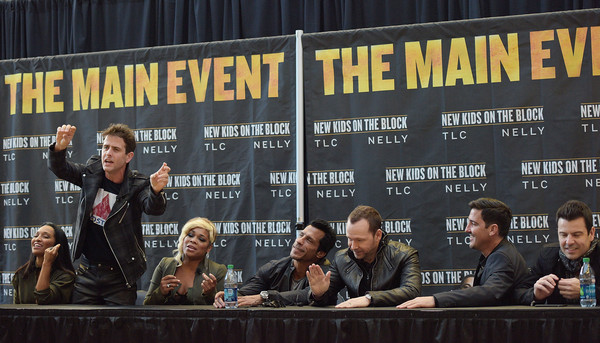 New Kids on the Block Press Conference [new kids on the block press conference,news conference,event,convention,advertising,joey mcintyre,jonathan knight,jordan knight,danny wood,donnie wahlberg,t-boz,chilli,madison square garden,new york city]