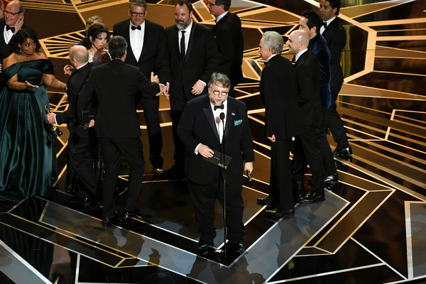 90th Annual Academy Awards - Show [the shape of water,suit,formal wear,event,tuxedo,musical ensemble,j. miles dale,guillermo del toro,crew,academy awards,microphone,best picture,hollywood highland center,l,show]
