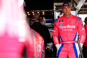 Elliott Sadler, driver of the #1 OneMain Financial Chevrolet, stands in the garage area during practice for the NASCAR Xfinity Series Bar Harbor 200 presented by Sea Watch International at Dover International Speedway on October 5, 2018 in Dover, Delaware.