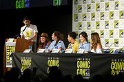 (L-R) Patrick Gomez, Noelle Stevenson, Lauren Ash, Marcus Scribner, Karen Fukuhara and Aimee Carrero attend DreamWorks She-Ra and the Princesses of Power at San Diego Comic-Con 2019 at San Diego Convention Center on July 19, 2019 in San Diego, California.