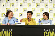 (L-R) Lauren Ash, Marcus Scribner and Karen Fukuhara attend DreamWorks She-Ra and the Princesses of Power at San Diego Comic-Con 2019 at San Diego Convention Center on July 19, 2019 in San Diego, California.