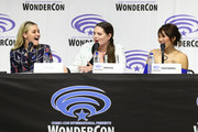 """(L-R) AJ Michalka, Lauren Ash, and Karen Fukuhara speak onstage during DreamWorks """"She-Ra and the Princesses of Power"""" ˆat WonderCon at Anaheim Convention Center on March 30, 2019 in Anaheim, California."""