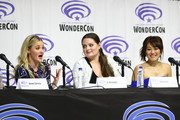 """(L-R) AJ Michalka, Lauren Ash and Karen Fukuhara speak onstage during DreamWorks """"She-Ra and the Princesses of Power"""" ˆat WonderCon at Anaheim Convention Center on March 30, 2019 in Anaheim, California."""