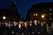 (From 2nd Left to Right) Prince Edward, Duke of Kent, Helma Orosz, Major of Dresden, German President Joachim Gauck, Daniela Schadt and Stanislav Tillich, Governeuer of Saxony, hold hands together in a human chain across the city center in commemoration of the 70th anniversary of the Allied firebombing of Dresden on February 13, 2015 in Dresden, Germany. On February 13-14, 1945, U.S. and British bombers attacked in successive raids that devastated the city and killed at least 25,000 people. The formation of a human chain has become an annual occurrence that not only commemorates the bombing but also makes a statement against local neo-Nazis, who in years passed have sought to use the anniversary to their own ends.