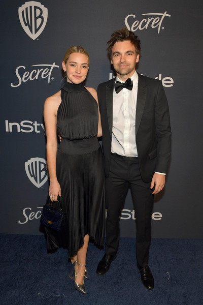 The 2020 InStyle And Warner Bros. 77th Annual Golden Globe Awards Post-Party - Red Carpet [clothing,suit,fashion,hairstyle,formal wear,dress,tuxedo,little black dress,event,premiere,drew tarver,katelyn tarver,l-r,the beverly hilton hotel,california,beverly hills,instyle,red carpet,warner bros. 77th annual golden globe awards,warner bros. 77th annual golden globe awards post-party,katelyn tarver,drew tarver,76th golden globe awards,celebrity,the bold type,stock photography,photograph,party,red carpet]