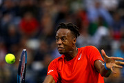 Gael Monfils of France in action Stefanos Tsitsipas of Greece during in his men's semi final match on day thirteen of the Dubai Duty Free Tennis Championships  at Dubai Duty Free Tennis Stadium March 01, 2019 in Dubai, United Arab Emirates.
