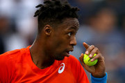 Gael Monfils of France looks on against Stefanos Tsitsipas of Greece during in his men's semi final match on day thirteen of the Dubai Duty Free Tennis Championships  at Dubai Duty Free Tennis Stadium March 01, 2019 in Dubai, United Arab Emirates.