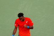Gael Monfils of France celebrates victory over Ricardas Berankis of Lithuania during day twelve of the ATP Dubai Duty Free Tennis Championships at Dubai Duty Free Tennis Stadium on February 28, 2019 in Dubai, United Arab Emirates.