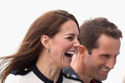 Catherine, Duchess of Cambridge, patron of the 1851 Trust, chats with Sir Ben Ainslie as she arrives at Land Rover BAR on May 20, 2016 in Portsmouth, England. The Duchess of Cambridge is launching the 1851 Trust's two sailing projects and meeting people involved in the project. Afterwards she will open the 'Tech Deck' Education Centre at the heart of the base.