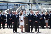 Sir Keith Mills, Catherine, Duchess of Cambridge, Sir Ben Ainslie and Charles Dunstone pose with the America's Cup at the National Maritime Museum in Greenwich for the Ben Ainslie America's Cup Launch on June 10, 2014 in London, England.