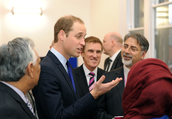 Prince William, Duke of Cambridge speaks to guests during his visit to South and City College on November 29, 2013 in Birmingham, England.