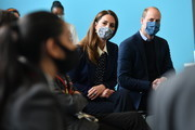 Prince William, Duke of Cambridge and Catherine, Duchess of Cambridge take part in a mental health and wellbeing session during a visit to The Way Youth Zone on May 13, 2021 in Wolverhampton, England.