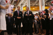 Prince William, Duke of Cambridge and Mark King, President Rolls-Royce chat while touring the Rolls-Royce Seletar Campus during the Diamond Jubilee tour on September 12, 2012 at Seletar Aerospace Park in Singapore.