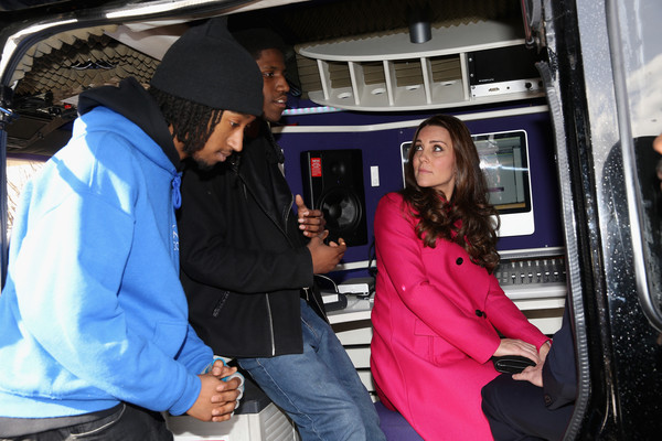 Catherine, Duchess of Cambridge chats with young people at the XLP Mobile recording Studio on March 27, 2015 in London, England.