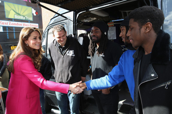 Catherine, Duchess of Cambridge greets young people at the XLP Mobile recording Studio on March 27, 2015 in London, England.