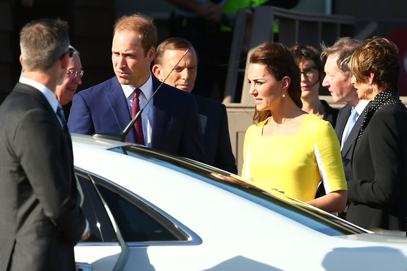 Prince William, Duke of Cambridge and Catherine, Duchess of Cambridge arrive at Sydney Airport on RAAF B737 on April 16, 2014 in Sydney, Australia. The Duke and Duchess of Cambridge are on a three-week tour of Australia and New Zealand, the first official trip overseas with their son, Prince George of Cambridge.
