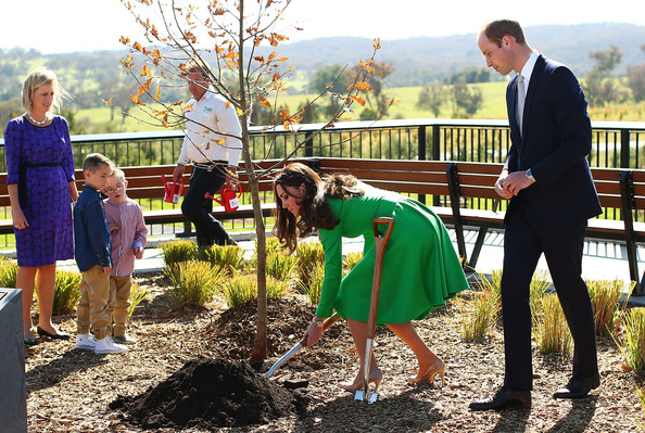 Catherine, Duchess of Cambridge and Prince William, Duke of Cambridge take part a tree planting as they visit the National Arboretum on April 24, 2014 in Canberra, Australia. The Duke and Duchess of Cambridge are on a three-week tour of Australia and New Zealand, the first official trip overseas with their son, Prince George of Cambridge.
