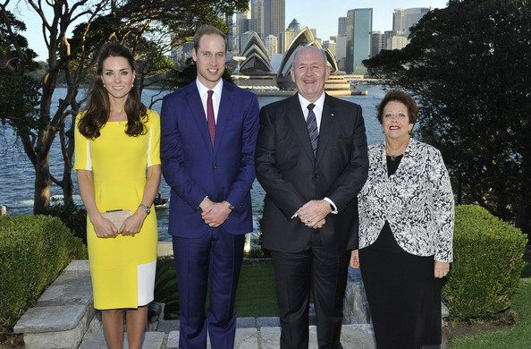 In this handout image supplied by Admiralty House, the official Sydney residence of the Governor-General, Prince William, Duke of Cambridge and Catherine, Duchess of Cambridge pose with Governor-General Sir Peter Cosgrove and Lady Cosgrove at Admiralty House, on April 16, 2014 in Sydney, Australia. The Duke and Duchess of Cambridge are on a three-week tour of Australia and New Zealand, the first official trip overseas with their son, Prince George of Cambridge.