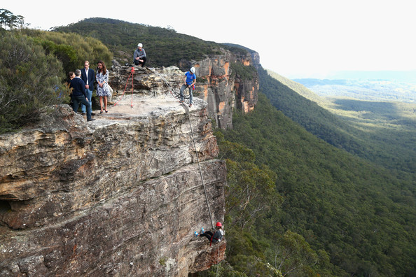 Prince William, Duke of Cambridge, and Catherine, Duchess of Cambridge, observe abseiling and team building exercises at Narrow Neck Lookout on April 17, 2014 in Katoomba, Australia. The Duke and Duchess of Cambridge are on a three-week tour of Australia and New Zealand, the first official trip overseas with their son, Prince George of Cambridge.