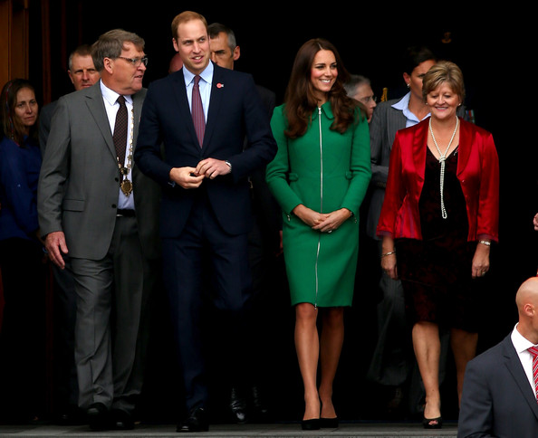 Prince William, Duke of Cambridge and Catherine, Duchess of Cambridge leave the Cambridge Town Hall on April 12, 2014 in Cambridge, New Zealand. The Duke and Duchess of Cambridge are on a three-week tour of Australia and New Zealand, the first official trip overseas with their son, Prince George of Cambridge.