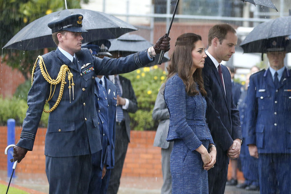 Prince William, Duke of Cambridge and Catherine, Duchess of Cambridge stand at the Remembrance Wall during a visit to the Royal New Zealand Police College on April 16, 2014 in Wellington, New Zealand. The Duke and Duchess of Cambridge are on a three-week tour of Australia and New Zealand, the first official trip overseas with their son, Prince George of Cambridge.