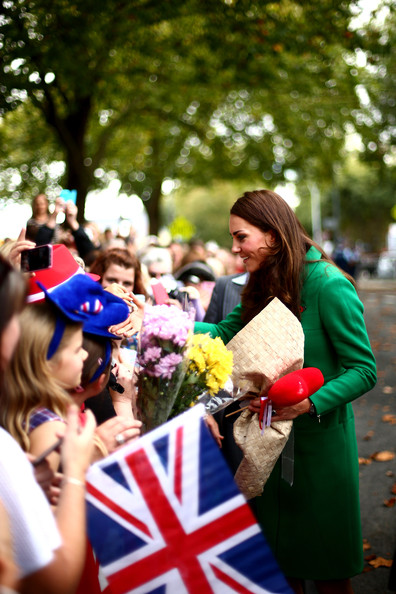 Catherine, Duchess of Cambridge meets with the public in the Cambridge town centre on April 12, 2014 in Cambridge, New Zealand. The Duke and Duchess of Cambridge are on a three-week tour of Australia and New Zealand, the first official trip overseas with their son, Prince George of Cambridge.
