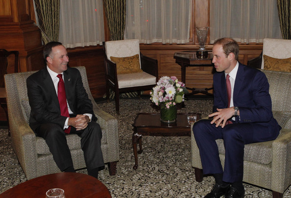 Prince William, Duke of Cambridge meets with New Zealand Prime Minister John Key during Day 4 of a Royal Tour to New Zealand at Government House on April 10, 2014 in Wellington, New Zealand. The Duke and Duchess of Cambridge are on a three-week tour of Australia and New Zealand, the first official trip overseas with their son, Prince George of Cambridge.