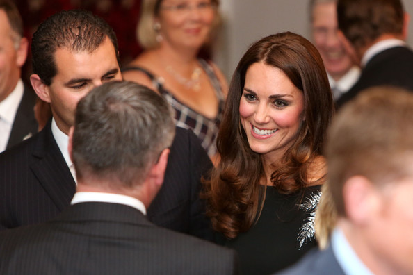 Catherine, Duchess of Cambridge speaks to guests during a state reception at Government House on April 10, 2014 in Wellington, New Zealand. The Duke and Duchess of Cambridge are on a three-week tour of Australia and New Zealand, the first official trip overseas with their son, Prince George of Cambridge.