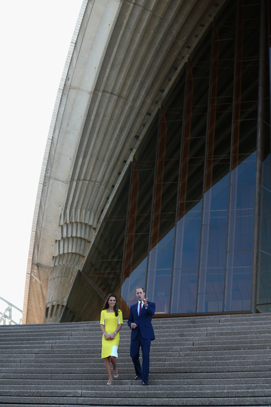 The Duke and Duchess of Cambridge walk down the stairs of the Sydney Opera House on April 16, 2014 in Sydney, Australia. The Duke and Duchess of Cambridge are on a three-week tour of Australia and New Zealand, the first official trip overseas with their son, Prince George of Cambridge.