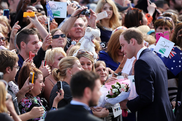 Prince William, Duke of Cambridge meets spectators at the Playford Civic Centre on April 23, 2014 in Adelaide, Australia. The Duke and Duchess of Cambridge are on a three-week tour of Australia and New Zealand, the first official trip overseas with their son, Prince George of Cambridge.