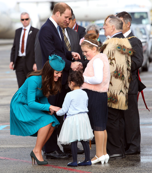 Prince William, Duke of Cambridge and Catherine, Duchess of Cambridge at the official greeting at Dunedin International Airport on April 13, 2014 in Dunedin, New Zealand. The Duke and Duchess of Cambridge are on a three-week tour of Australia and New Zealand, the first official trip overseas with their son, Prince George of Cambridge.