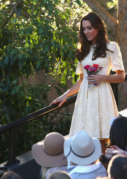 Catherine, Duchess of Cambridge, arrives to observe a Bird Show at Taronga Zoo on April 20, 2014 in Sydney, Australia. The Duke and Duchess of Cambridge are on a three-week tour of Australia and New Zealand, the first official trip overseas with their son, Prince George of Cambridge.