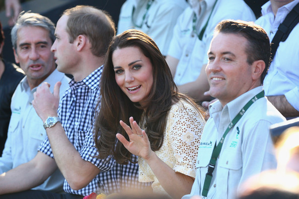 Catherine, Duchess of Cambridge waves to the crowd at the Taronga Zoo bird show on April 20, 2014 in Sydney, Australia. The Duke and Duchess of Cambridge are on a three-week tour of Australia and New Zealand, the first official trip overseas with their son, Prince George of Cambridge.
