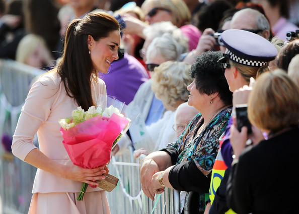 Catherine, Duchess of Cambridge meets spectators at the Playford Civic Centre on April 23, 2014 in Adelaide, Australia. The Duke and Duchess of Cambridge are on a three-week tour of Australia and New Zealand, the first official trip overseas with their son, Prince George of Cambridge.