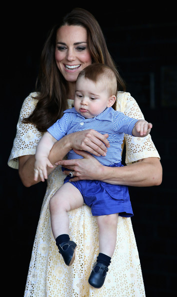 Catherine, Duchess of Cambridge holds Prince George of Cambridge as they look at a Bilby called George at Taronga Zoo on April 20, 2014 in Sydney, Australia. The Duke and Duchess of Cambridge are on a three-week tour of Australia and New Zealand, the first official trip overseas with their son, Prince George of Cambridge.