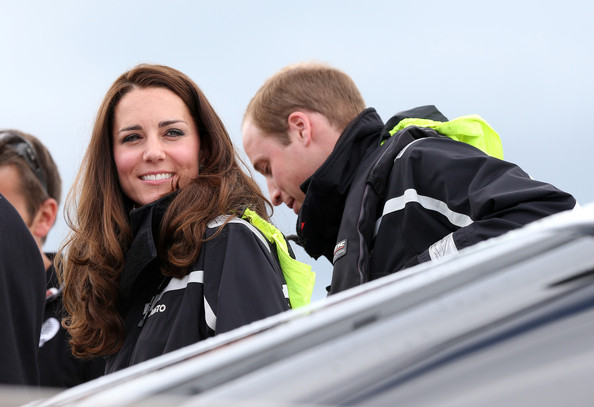 Prince William, Duke of Cambridge and Catherine, Duchess of Cambridge sail with Team New Zealand at the Viaduct Basin on April 11, 2014 in Auckland, New Zealand. The Duke and Duchess of Cambridge are on a three-week tour of Australia and New Zealand, the first official trip overseas with their son, Prince George of Cambridge.