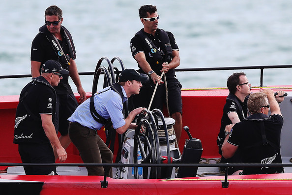 Prince William, Duke of Cambridge races with Team New Zealand CEO Grant Dalton during a match race on the Waitemata Harbour on April 11, 2014 in Auckland, New Zealand. The Duke and Duchess of Cambridge are on a three-week tour of Australia and New Zealand, the first official trip overseas with their son, Prince George of Cambridge.