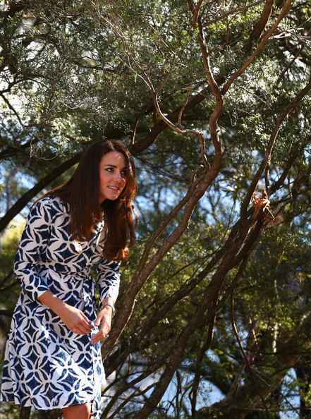 Catherine, Duchess of Cambridge, walks through the bush as she observes abseiling and team building exercises at Narrow Neck Lookout on April 17, 2014 in Katoomba, Australia. The Duke and Duchess of Cambridge are on a three-week tour of Australia and New Zealand, the first official trip overseas with their son, Prince George of Cambridge.