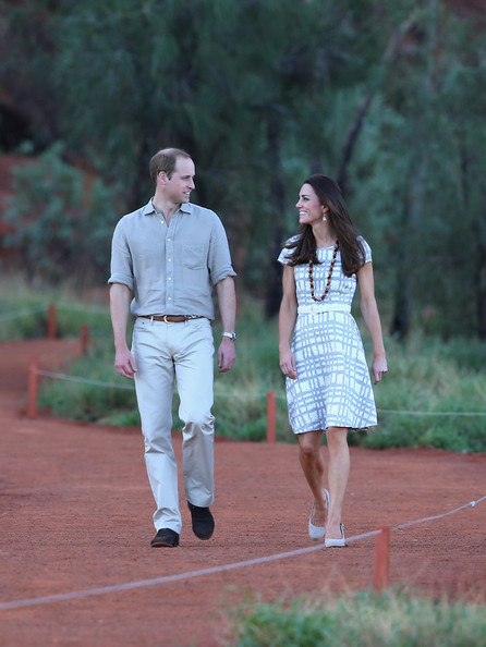 Catherine, Duchess of Cambridge and Prince William, Duke of Cambridge walk around the base of Uluru  on April 22, 2014 in Ayers Rock, Australia. The Duke and Duchess of Cambridge are on a three-week tour of Australia and New Zealand, the first official trip overseas with their son, Prince George of Cambridge.