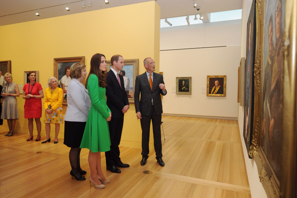 Catherine, Duchess of Cambridge and Prince William, Duke of Cambridge visit the National Portrait Gallery on April 24, 2014 in Canberra, Australia. The Duke and Duchess of Cambridge are on a three-week tour of Australia and New Zealand, the first official trip overseas with their son, Prince George of Cambridge.