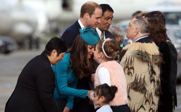 Catherine, Duchess of Cambridge receives a official Maori greeeting on arrival at Dunedin at Dunedin International Airport on April 13, 2014 in Dunedin, New Zealand. The Duke and Duchess of Cambridge are on a three-week tour of Australia and New Zealand, the first official trip overseas with their son, Prince George of Cambridge.
