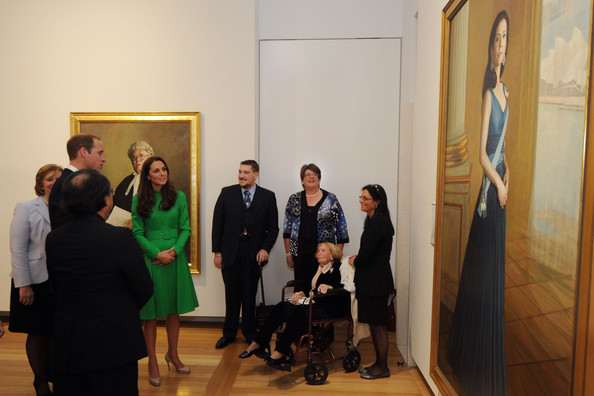 Catherine, Duchess of Cambridge and Prince William, Duke of Cambridge look at a portrait of HRH Crown Princess Mary of Denmark during a visit to the National Portrait Gallery on April 24, 2014 in Canberra, Australia. The Duke and Duchess of Cambridge are on a three-week tour of Australia and New Zealand, the first official trip overseas with their son, Prince George of Cambridge.